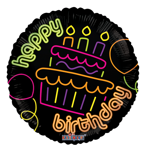 "Kaleidoscope Folienballon ""Happy Birthday - Neon Torte"" 45cm/18"""