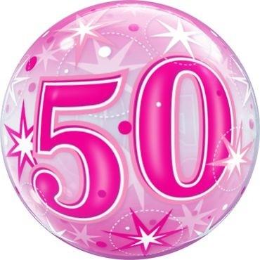 """Qualatex Bubbles 50 Pink Starburst Sparkle 55cm/22"""""""