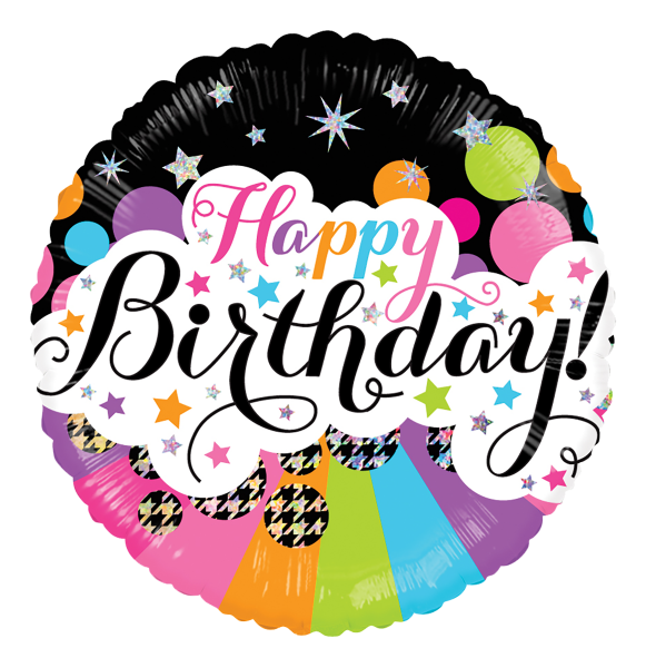 "Kaleidoscope Folienballon ""Happy Birthday - Bunte Sterne"" 45cm/18"""
