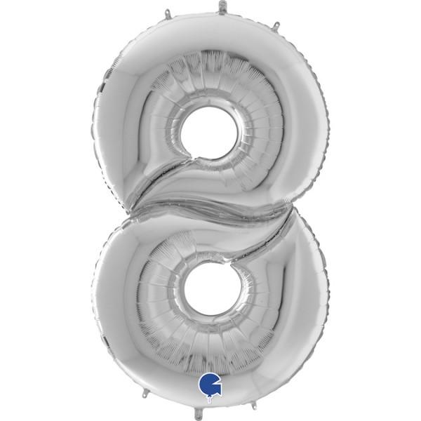 """Grabo Folienballon Zahl 8 Silver 160cm/64"""""""
