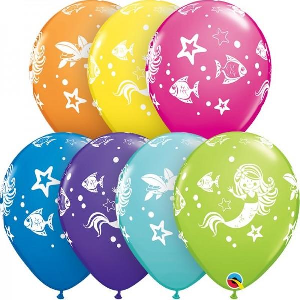 "Qualatex Latexballon Merry Mermaid & Friends Assorted 28cm/11"" 25 Stück"