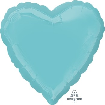 Anagram Folienballon Herz 45cm Durchmesser Mittelgrün (Robins Egg Blue)