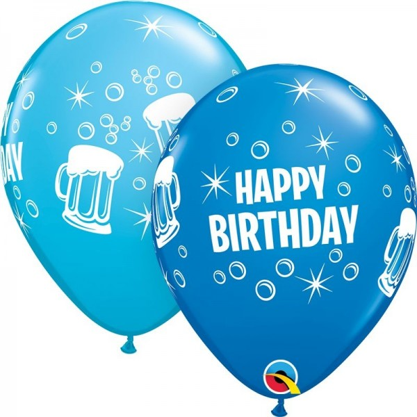 "Qualatex Latexballon Birthday Beer Mugs Assorted 28cm/11"" 25 Stück"
