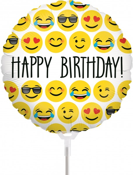 "Betallic Folienballon Emoji Birthday 23cm/9"" luftgefüllt mit Stab"
