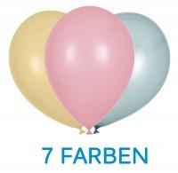 """Globos Luftballons Pearl Bunt 7 Farben Naturlatex 30cm/12"""" 100er Packung"""