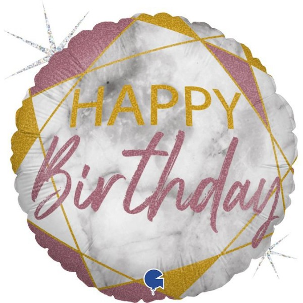 "Grabo Folienballon Marble Mate Happy Birthday Rose Gold Rund 45cm/18"""