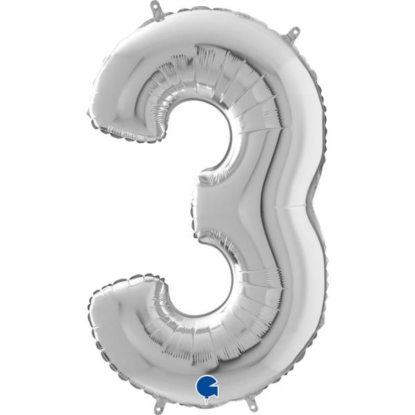 """Grabo Folienballon Zahl 3 Silver 66cm/26"""""""