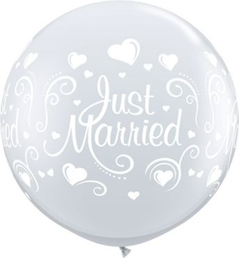 Qualatex Latexballon Just Married Hearts Diamond Clear 90cm/3' 2 Stück