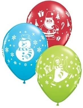 "Qualatex Latexballon Snowmen, Penguins & Santa Sortiment 28cm/11"" 25 Stück"