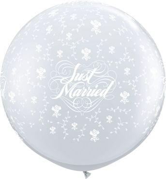 Qualatex Latexballon Just Married Flowers-A-Round Diamond Clear 90cm/3' 2 Stück