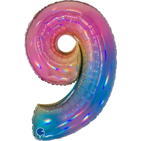 """Grabo Folienballon Zahl 9 Colourful Rainbow 100cm/40"""""""
