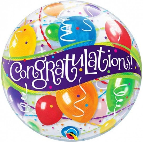 """Qualatex Bubbles Congratulations 55cm/22"""""""