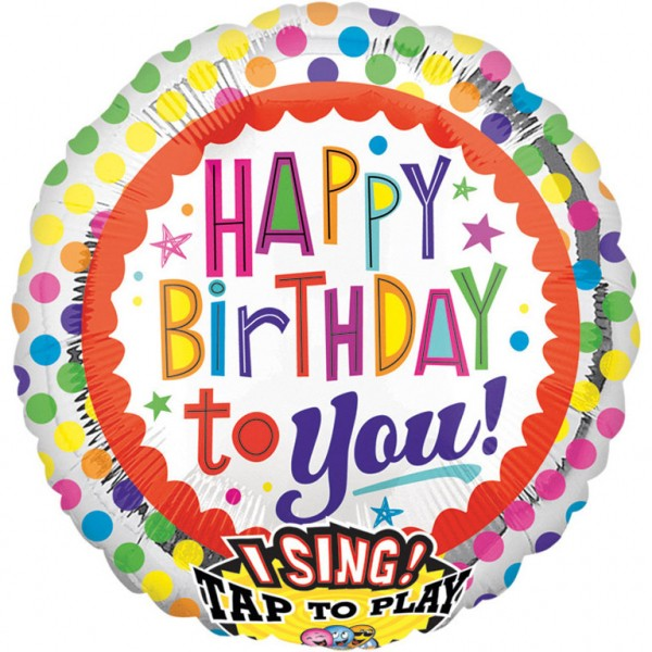 Anagram Folienballon Sing-A-Tune Happy Birthday to You Dots 70cm/27""