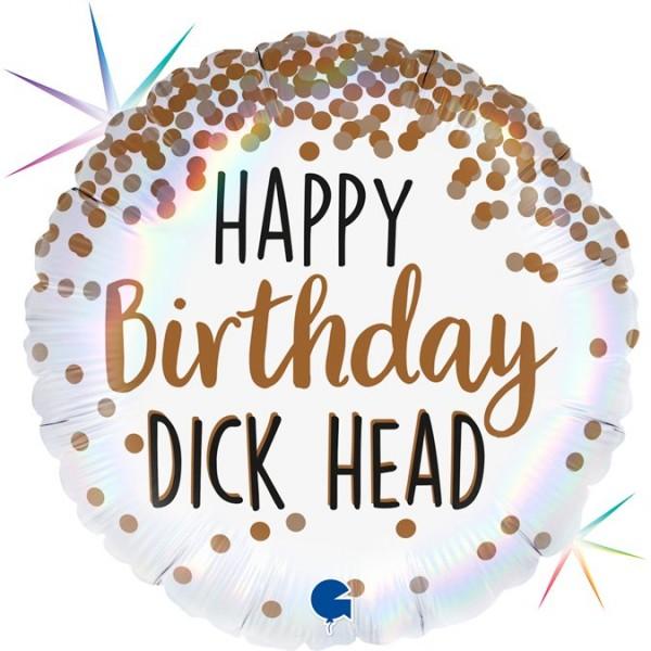 "Grabo Folienballon 45cm/18"" Happy Birthday Dick Head Regenbogen Holographic"