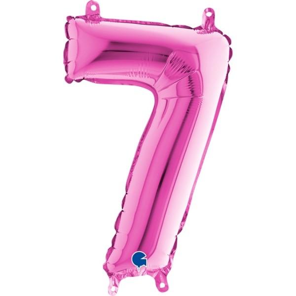 """Grabo Folienballon Pink 36cm/14"""" Zahl 7"""