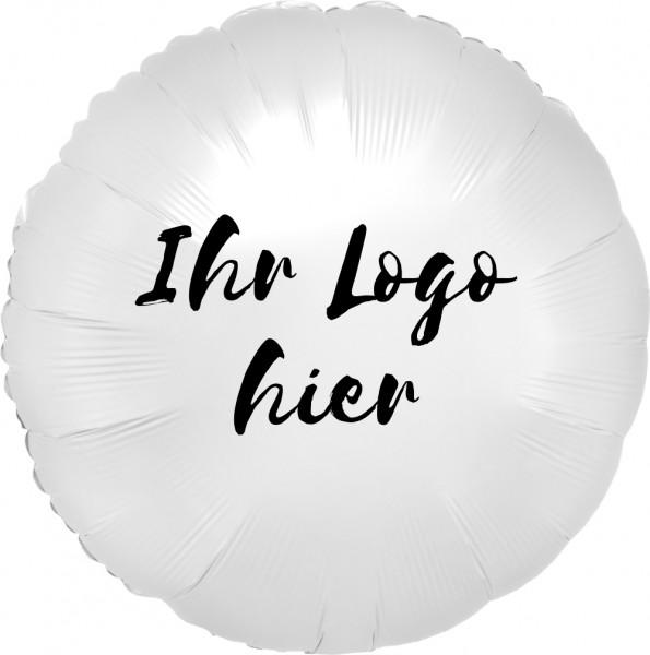 """Folien-Werbeballon Rund Satin Luxe White 45cm/18"""" 1-Seitig bedruckt"""