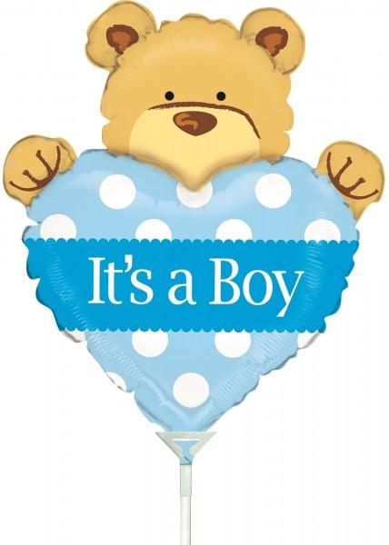 "Betallic Folienballon Mini Big Heart Bear Boy 35cm/14"" luftgefüllt inkl. Stab"
