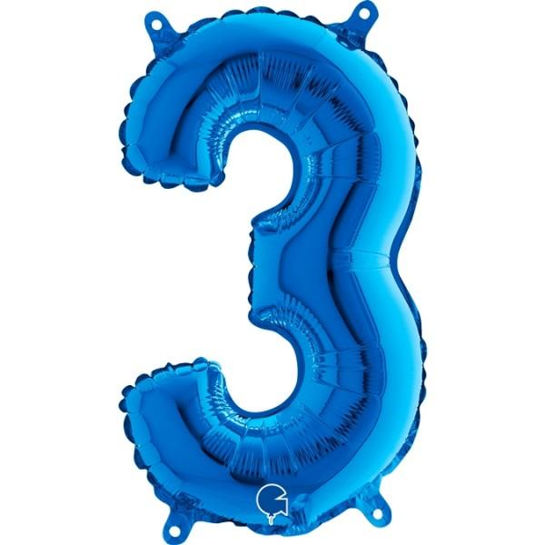 "Grabo Folienballon Zahl 3 Blue 36cm/14"""