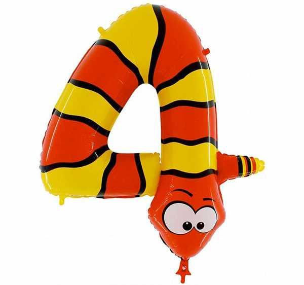 """Zahlenballon """"Schlange - Zahl 4"""""""