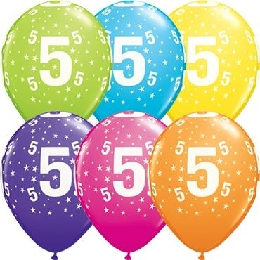 "Qualatex Latexballon Stars 5-A-Round Tropical Assortment 28cm/11"" 25 Stück"