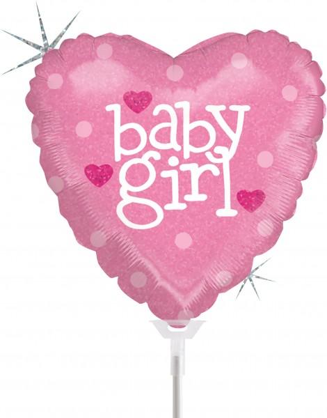 "Betallic Folienballon Baby Heart Girl Holographic 23cm/9"" luftgefüllt mit Stab"