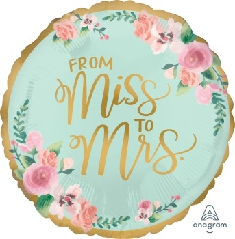 Anagram Folienballon Rund 45cm Durchmesser From Miss To Mrs. (Mint to Be)
