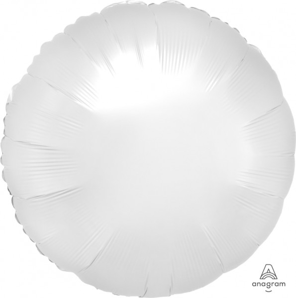 "Anagram Folienballon Rund Satin Luxe White 45cm/18"" 100 Stück"