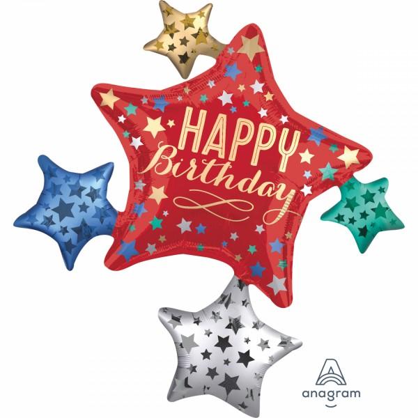 "Anagram Folienballon Stern Satin ""Happy Birthday"" Cluster 90cm/36"""
