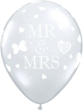 "Qualatex Latexballon Mr. & Mrs. Diamond Clear 28cm/11"" 50 Stück"