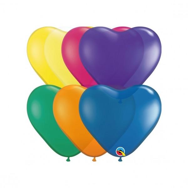 "Qualatex Latexballon Jewel Heart Sortiment 15cm/6"" 100 Stück"