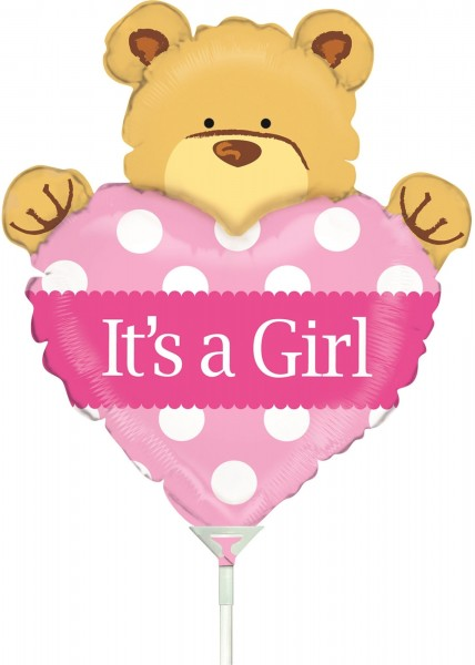"Betallic Folienballon Mini Big Heart Bear Girl 35cm/14"" luftgefüllt mit Stab"