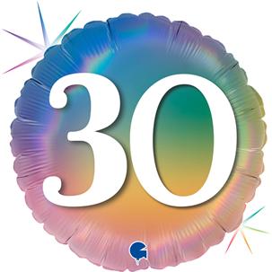 "Grabo Folienballon Happy 30 Colourful Rainbow 46cm/18"""