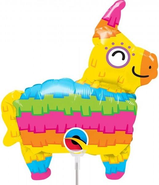 """Qualatex Folienballon Rainbow Pinata 35cm/14"""" luftgefüllt mit Stab"""