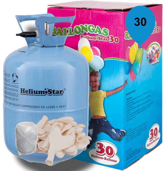 Ballongas Set: Helium & 30 weiße Latex-Herzballons