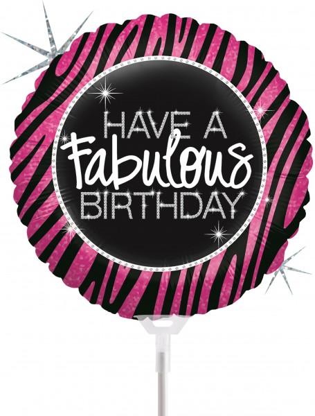 "Betallic Folienballon Fabulous Zebra Birthday Holographic 23cm/9"" luftgefüllt inkl. Stab"