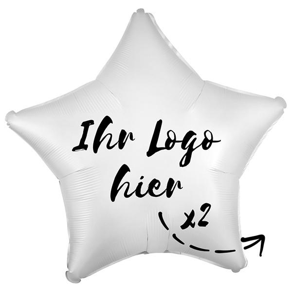 "Folien-Werbeballon Stern Satin Luxe White 50cm/20"" 2-Seitig bedruckt"