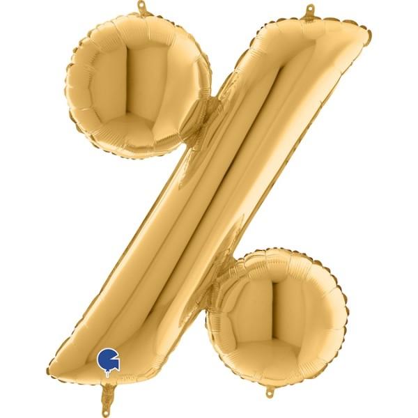 "Grabo Folienballon Zeichen % Gold 100cm/40"""