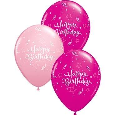 "Qualatex Latexballon Birthday Shining Star Assorted Pink & Wild Berry 28cm/11"" 25 Stück"