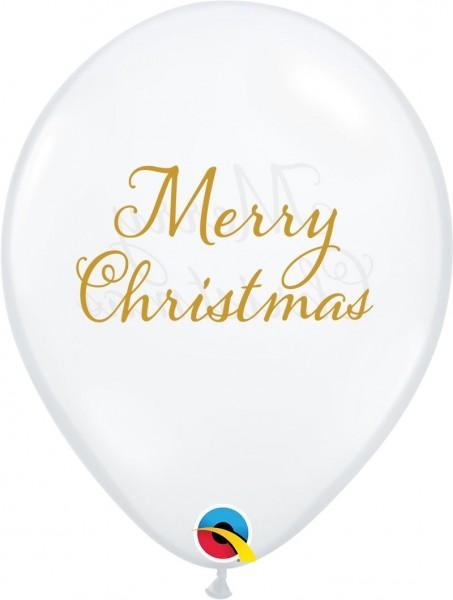 """Qualatex Latexballon Simply Merry Christmas Diamond Clear 28cm/11"""" 25 Stück"""