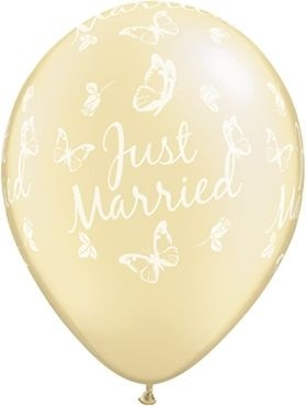"Qualatex Latexballon Just Married Roses & Butterflies Pearl Ivory 28cm/11"" 25 Stück"