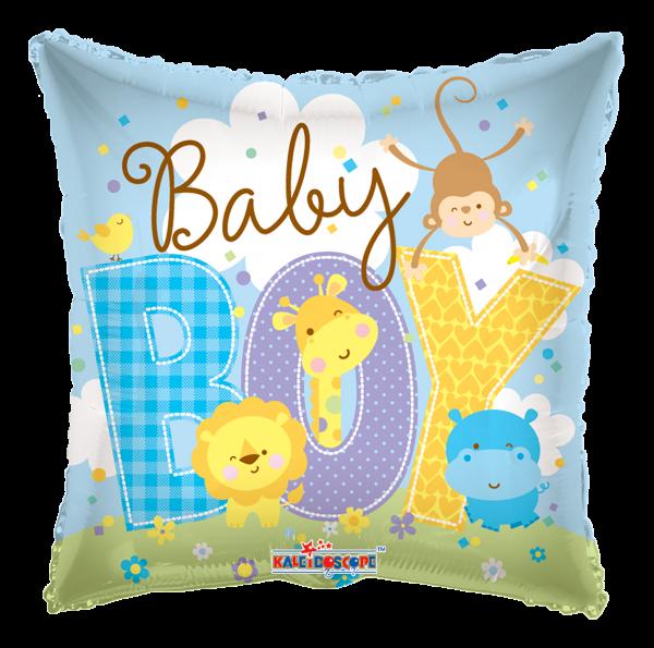 "Kaleidoscope Folienballon ""Baby Boy Blau - Tierbabys"" 45cm/18"""