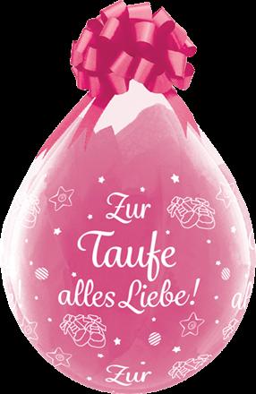 "Qualatex Verpackungsballon Zur Taufe alles Liebe! Diamond Clear 45cm/18"" 25 Stück"
