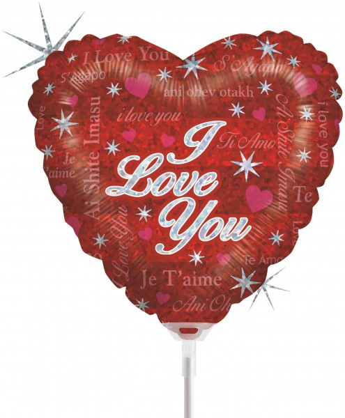 "Betallic Folienballon Sparkling Lover Holographic 23cm/9"" luftgefüllt inkl. Stab"