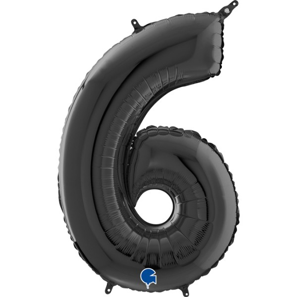 "Grabo Folienballon Zahl 6 Black 66cm/26"""