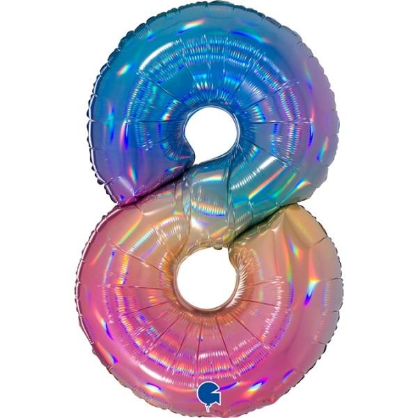 """Grabo Folienballon Zahl 8 Colourful Rainbow 100cm/40"""""""