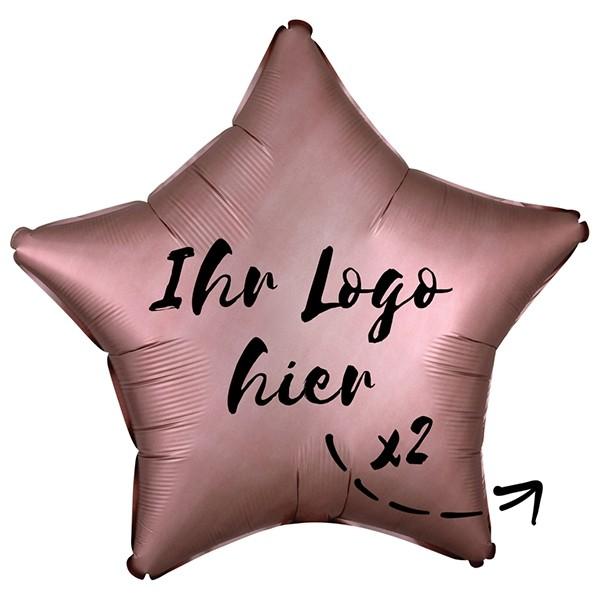 "Folien-Werbeballon Stern Satin Luxe Rose Copper 50cm/20"" 2-Seitig bedruckt"