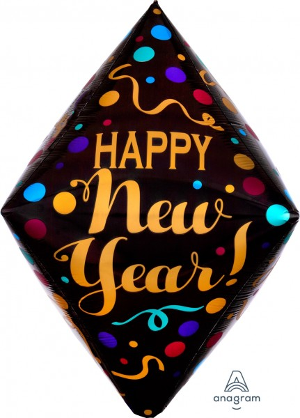 "Anagram Folienballon Anglez 40cm/16"" ""Happy New Year!"" Satinpunkte (Satin Dots)"