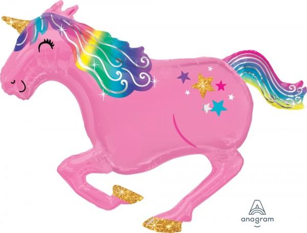 "Anagram Folienballon 100cm Breite/85cm (39""/34"") Hoch SuperShape Unicorn Pink"
