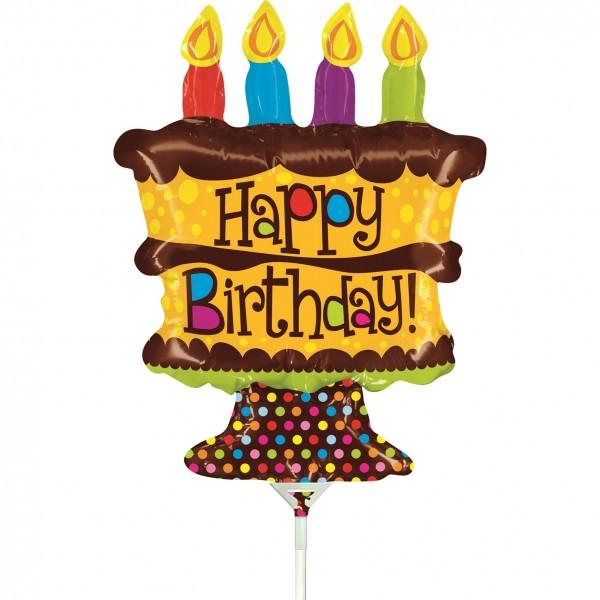 "Betallic Folienballon Mini Birthday Whole Cake 35cm/14"" luftgefüllt mit Stab"