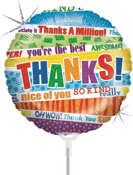 "Betallic Folienballon Lots O'Thanks Holographic 23cm/9"" luftgefüllt mit Stab"